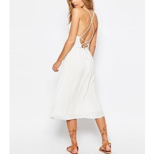 ASOS Solid White Tie Back Sleeveless Midi Sundress